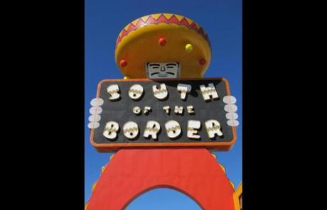 Hamer, S.C., is home to South of the Border, with a video arcade, amusement rides, and shops selling souvenirs.